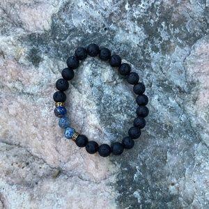 ⚡️Blue Regalite and black lava bead bracelet
